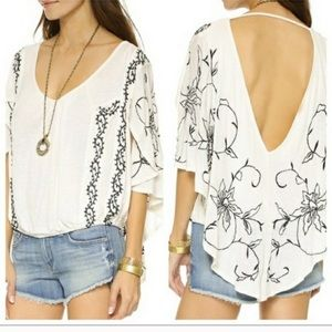 Free People sevilla embroidered knit blouse
